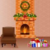 Chaminé do Natal com presentes e sofá Fotos de Stock Royalty Free