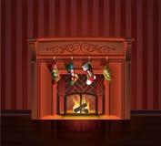 Chaminé do vermelho do Natal Fotografia de Stock