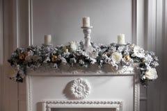Chaminé festiva decorada Fotografia de Stock
