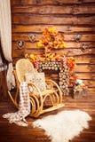 A chaminé recolheu dos logs, da balançar-cadeira e das peles no roo fotografia de stock