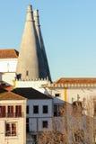 Chaminés da cozinha. Palácio nacional de Sintra. Portugal Imagem de Stock
