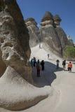 Chaminés feericamente em Pasabagi perto de Zelve na região de Cappadocia de Turquia Foto de Stock