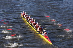 Chaminade Crew races in the Head of Charles Regatta Men`s Youth Eight Royalty Free Stock Photo