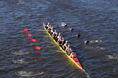 Chaminade Crew races in the Head of Charles Regatta Men`s Youth Eight Stock Image