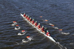 Chaminade Crew races in the Head of Charles Regatta Men`s Youth EightWayland-Weston Royalty Free Stock Photography