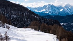 Chamois Airfield and Mountain Peak stock images