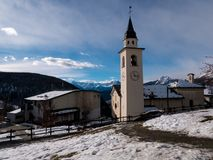 Chamois Church, Italy stock photography