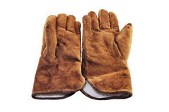 Chamois gloves on a white Stock Photo