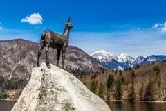 Chamois Statue,Bohinj Lake,Mountain Range-Slovenia Stock Photo