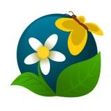 chamomile λογότυπο πεταλούδων Στοκ Φωτογραφίες