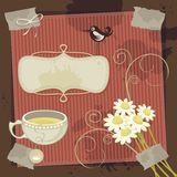 Chamomile Background. Vintage, chamomile theme background with space for your message Stock Photos