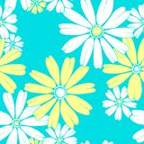 Chamomile blue and yellow seamless vector floral pattern vector illustration