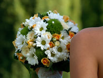 Chamomile bouquet. There is beautiful bouquet from chamomile and baby roses royalty free stock photography