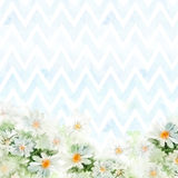 Chamomile bouquet on blue chevron background. Hand-painted watercolor illustration for greeting cards vector illustration