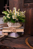 Chamomile decor composition with books and box on. The old brown wood table. Selective focus with bokeh Royalty Free Stock Image