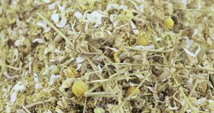 Chamomile drug bulk. Bulk crushed chamomile apothecary with flowers and stems stock video footage