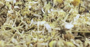 Chamomile drug bulk. Bulk crushed chamomile apothecary with flowers and stems stock footage