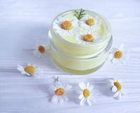 Chamomile flower, cosmetic treatment hygiene natural moisturizer cream on a wooden background royalty free stock photo