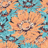 Chamomile flower seamless pattern, floral vector background. Orange, blue and multicolor flowers with petals on the dark backdrop. Stock Photo