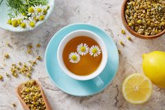 Chamomile flowers and chamomile tea. Chamomile tea in cup with flowers and lemon, close-up Royalty Free Stock Photography