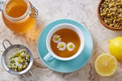 Chamomile flowers and chamomile tea. Chamomile tea in cup with flowers and lemon, close-up Stock Image