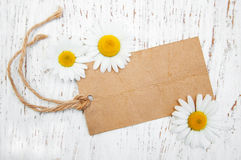 Chamomile flowers with tag Stock Photo