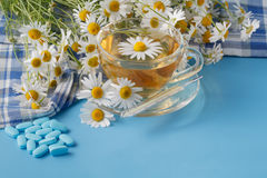 Chamomile herbal tea in a cup, pills and thermometer Stock Images