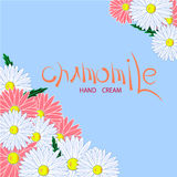 Chamomile illustration. Blue and white with text Stock Photos