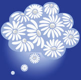 Chamomile Paradise. Dream in the cloud. Romantic  symbol Royalty Free Stock Photo