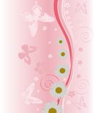 Chamomile and pink butterflies Royalty Free Stock Photography
