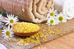 Chamomile salt in wooden spoon Royalty Free Stock Image