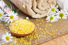 Chamomile salt in wooden spoon Stock Photography