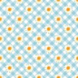 Chamomile seamless pattern. Daisies on blue Gingham Check background. Chamomile seamless pattern. Daisies on retro blue Gingham Check background. Vector vector illustration