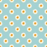 Chamomile seamless pattern. Daisies on blue polka dot background. Chamomile seamless pattern. Daisies on retro blue polka dot background. Vector illustration Stock Images