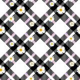 Chamomile seamless pattern. Daisies on retro white an d black Gingham Check background. Vector illustration. Eps 10 royalty free illustration