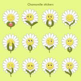 Chamomile stickers with emotions: love, kiss... stock illustration