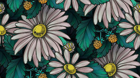Chamomile and strawberries seamless pattern Royalty Free Stock Photography