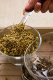Chamomile-Tarragon infusion tea set. Preparation of Chamomile-Tarragon infusion receipt. Combine herbs with honey step royalty free stock photography