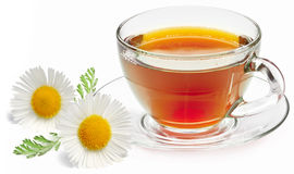 Chamomile tea. On a white background
