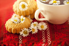 Chamomile tea with biscuits Royalty Free Stock Photo