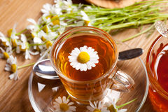 Chamomile tea with fresh herb and honey on wooden flooring Royalty Free Stock Photography