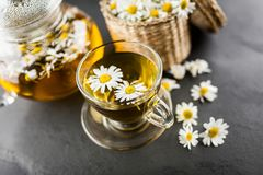 Cup of chamomile tea. Chamomile tea in a glass cup Stock Photo