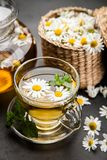 Cup of chamomile tea. Chamomile tea in a glass cup Stock Photos