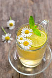Chamomile tea in a glass cup Royalty Free Stock Photography