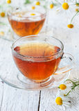 Chamomile tea in glass cups Stock Image