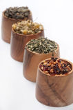 Chamomile tea, green tea, rose hips and nettle Royalty Free Stock Photo
