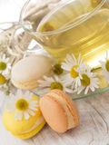 Chamomile tea with macaroons Royalty Free Stock Image