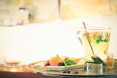 Chamomile tea near jacuzzi. Valentines background. Romance conce Stock Photography