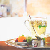 Chamomile tea near jacuzzi. Valentines background. Romance conce Royalty Free Stock Images