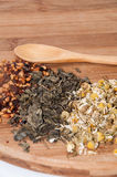 Chamomile tea, pomegranate and green tea and wooden spoon Stock Images